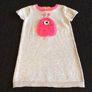 Gymboree Gray Pink Monster Knit Sweater Dress NWT